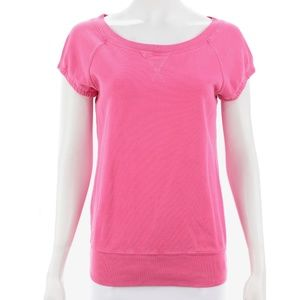 JUICY COUTURE PINK SHORT SLEEVED SWEATSHIRT SIZE L